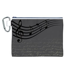 Music Clef Background Texture Canvas Cosmetic Bag (L)