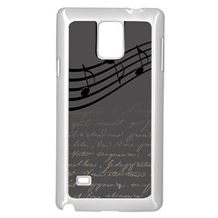 Music Clef Background Texture Samsung Galaxy Note 4 Case (White)