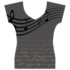 Music Clef Background Texture Women s V-Neck Cap Sleeve Top