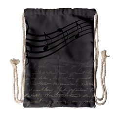 Music Clef Background Texture Drawstring Bag (large)
