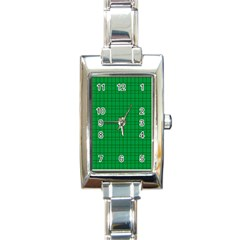 Pattern Green Background Lines Rectangle Italian Charm Watch