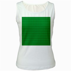 Pattern Green Background Lines Women s White Tank Top