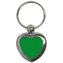 Pattern Green Background Lines Key Chains (Heart)