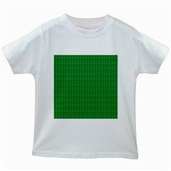 Pattern Green Background Lines Kids White T Shirts