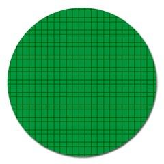 Pattern Green Background Lines Magnet 5  (Round)
