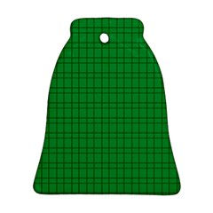 Pattern Green Background Lines Bell Ornament (Two Sides)