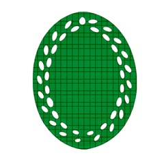 Pattern Green Background Lines Oval Filigree Ornament (two Sides)