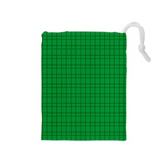 Pattern Green Background Lines Drawstring Pouches (medium)