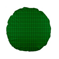 Pattern Green Background Lines Standard 15  Premium Flano Round Cushions
