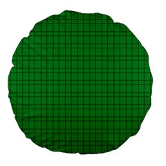 Pattern Green Background Lines Large 18  Premium Flano Round Cushions