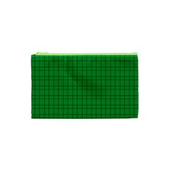 Pattern Green Background Lines Cosmetic Bag (xs)