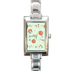 Apple Fruit Background Food Rectangle Italian Charm Watch