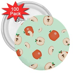 Apple Fruit Background Food 3  Buttons (100 Pack)