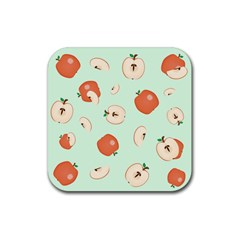 Apple Fruit Background Food Rubber Square Coaster (4 Pack)