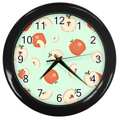 Apple Fruit Background Food Wall Clocks (black)