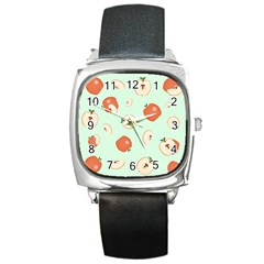 Apple Fruit Background Food Square Metal Watch