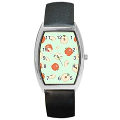 Apple Fruit Background Food Barrel Style Metal Watch