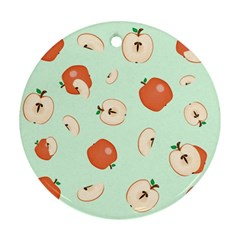 Apple Fruit Background Food Round Ornament (Two Sides)