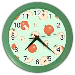 Apple Fruit Background Food Color Wall Clocks