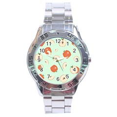 Apple Fruit Background Food Stainless Steel Analogue Watch