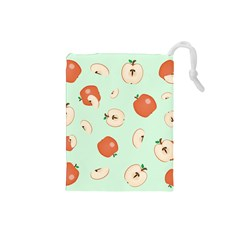 Apple Fruit Background Food Drawstring Pouches (small)