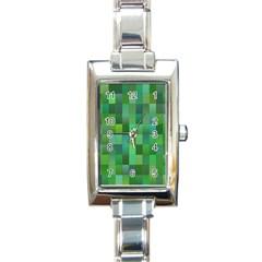Green Blocks Pattern Backdrop Rectangle Italian Charm Watch