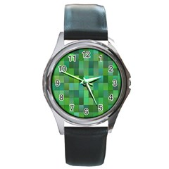 Green Blocks Pattern Backdrop Round Metal Watch