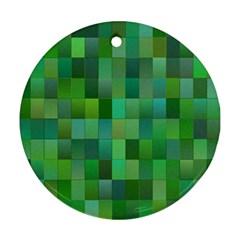 Green Blocks Pattern Backdrop Ornament (Round)