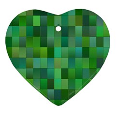 Green Blocks Pattern Backdrop Ornament (Heart)