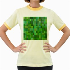 Green Blocks Pattern Backdrop Women s Fitted Ringer T-Shirts