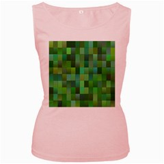 Green Blocks Pattern Backdrop Women s Pink Tank Top