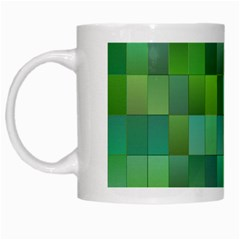 Green Blocks Pattern Backdrop White Mugs