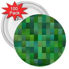 Green Blocks Pattern Backdrop 3  Buttons (100 pack)