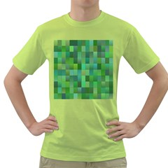 Green Blocks Pattern Backdrop Green T Shirt