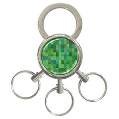 Green Blocks Pattern Backdrop 3-Ring Key Chains