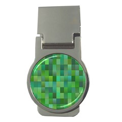 Green Blocks Pattern Backdrop Money Clips (round)