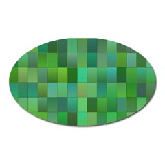 Green Blocks Pattern Backdrop Oval Magnet