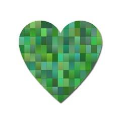 Green Blocks Pattern Backdrop Heart Magnet