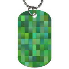 Green Blocks Pattern Backdrop Dog Tag (One Side)