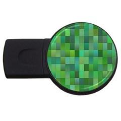 Green Blocks Pattern Backdrop Usb Flash Drive Round (2 Gb)