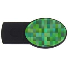 Green Blocks Pattern Backdrop USB Flash Drive Oval (1 GB)