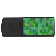 Green Blocks Pattern Backdrop USB Flash Drive Rectangular (1 GB)