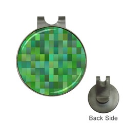 Green Blocks Pattern Backdrop Hat Clips with Golf Markers