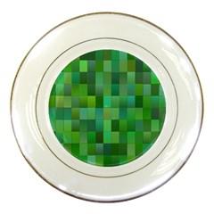 Green Blocks Pattern Backdrop Porcelain Plates