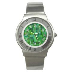 Green Blocks Pattern Backdrop Stainless Steel Watch