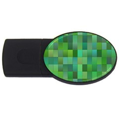 Green Blocks Pattern Backdrop Usb Flash Drive Oval (4 Gb)