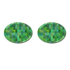 Green Blocks Pattern Backdrop Cufflinks (Oval)