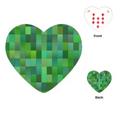 Green Blocks Pattern Backdrop Playing Cards (Heart)