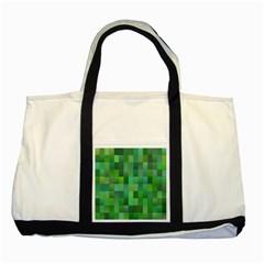 Green Blocks Pattern Backdrop Two Tone Tote Bag