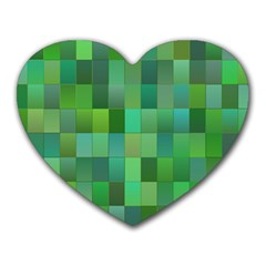 Green Blocks Pattern Backdrop Heart Mousepads